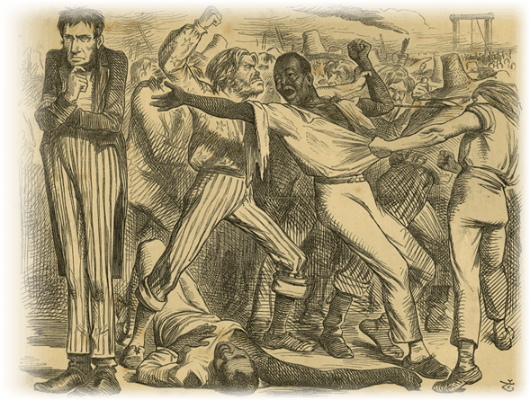 <em>Rowdy Emancipation Beating of African Americans</em>, 1863. Courtesy of Historical Society of Pennsylvania Digital Collections