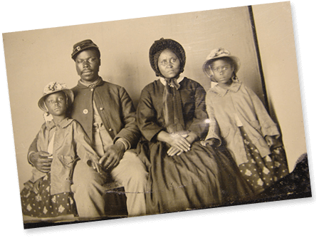 United States Colored Troop soldier and family, 1863, Library of Congress